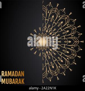 Vector islamic background. Ramadan Mubarak. Gold vintage - Stock Photo