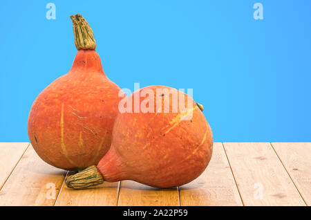 Hokkaido pumpkins close-up 3d rendering with realistic texture on the wooden table - Stock Photo