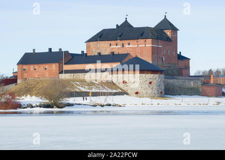 The ancient fortress of the city of Hameenlinna on March day. Finland - Stock Photo
