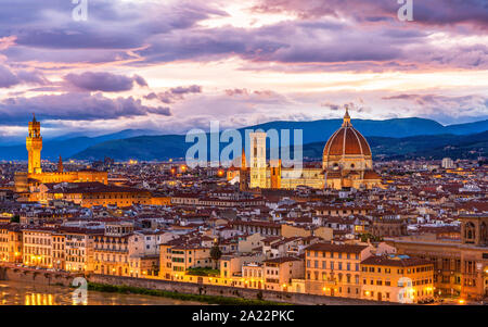 amazing cityscape from Florence in evening. Included the Dome of dome and arno river