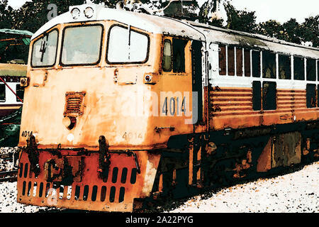 watercolor painting Yellow train, Thailand train . yellow diesel locomotive train stop at public station - Stock Photo