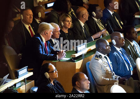 U.S. President Donald Trump, Vice President Mike Pence, U.S. Ambassador to the U.N. Kelly Craft, and Secretary of State Mike Pompeo at the United Nations Climate Action Summit, September 23, 2019.