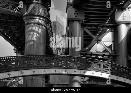 Victorian railway bridge, Castlefield, Manchester, UK - Stock Photo