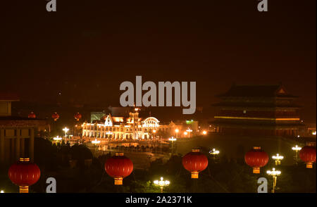 Beijing, China. 1st Oct, 2019. Photo taken on Oct. 1, 2019 shows the night view of Beijing, capital of China. Credit: Zhu Zheng/Xinhua/Alamy Live News - Stock Photo