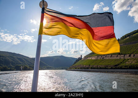 Trip with a boat on the Rhine, in the World Heritage Upper Middle Rhine Valley, Germany - Stock Photo