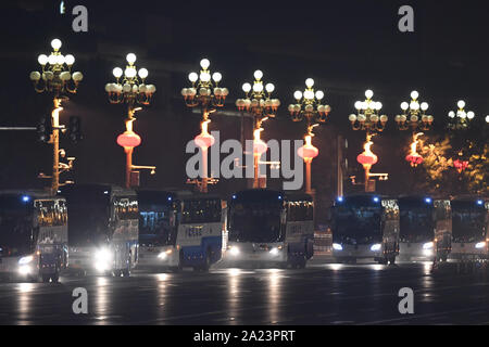 Beijing, China. 1st Oct, 2019. Photo taken on Oct. 1, 2019 shows the night view of the Chang'an Avenue in Beijing, capital of China. Credit: Tao Ming/Xinhua/Alamy Live News - Stock Photo