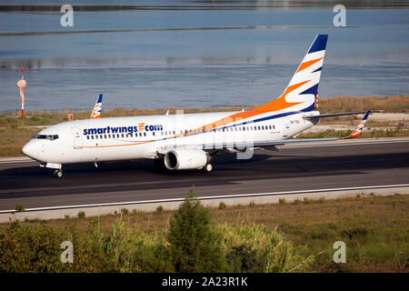 Corfu, Greece. 15th Sep, 2019. A SmartWings Boeing 737-800 taxiing at Corfu airport. Credit: Fabrizio Gandolfo/SOPA Images/ZUMA Wire/Alamy Live News - Stock Photo