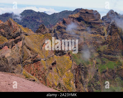 Rugged and colourful volcanic peaks of Madeira island, Portugal, the last refuge of the endangered Zino's petrel - Stock Photo