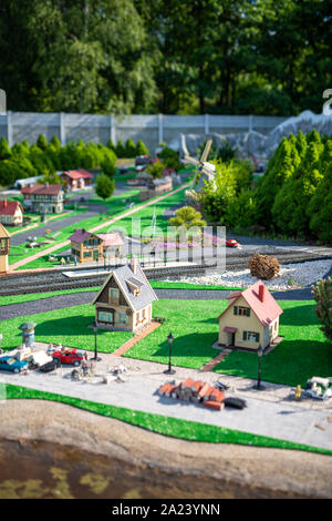 Train hobby model on the model railway. - Stock Photo