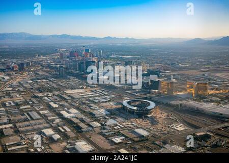 Las Vegas, AUG 29: Aerial view of the famous cityscape of Las Vegas on AUG 29, 2019 at Las Vegas, Nevada - Stock Photo