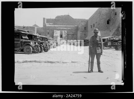 Palestine events. The 1929 riots, August 23 to 31. Military guard outside the Church of Nativity in Bethlehem - Stock Photo