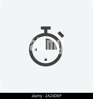 time flat icon design template, stopwatch logo icon vector in grey background, timer symbol, vector illustration - Stock Photo