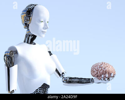 3D rendering of a female robot holding a human brain that she is looking at. Futuristic artificial intelligence concept. - Stock Photo