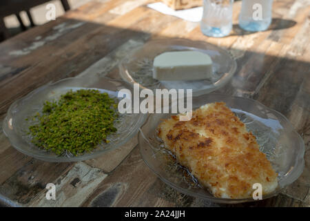 Fresh cheesy kunefe in Antakya, Hatay, Turkey - Stock Photo