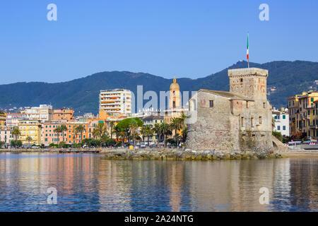 italian castles on sea italian flag - castle of Rapallo , Liguria Genoa Tigullio gulf near Portofino Italy . - Stock Photo