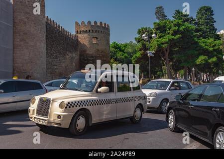 Azerbaijan, Baku, September 20, 2019 Taxi car - Stock Photo
