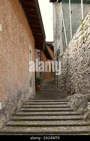 Street in the village of Gandria on lake Lugano, Switzerland. - Stock Photo