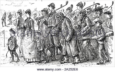 Cartoon commenting on the growing popularity of golf. Illustrated by George du Maurier (1834-1896) a Franco-British cartoonist and author. Dated 19th century - Stock Photo