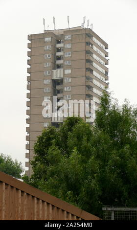 Tower block in West London. Tower blocks in the United Kingdom, were subject to inspection by Fire and safety officials after the Grenfell Tower fire in London. The fire occurred on 14 June 2017. at the 24-storey Grenfell Tower block of public housing flats in North Kensington, West London. It caused at least 80 deaths - Stock Photo