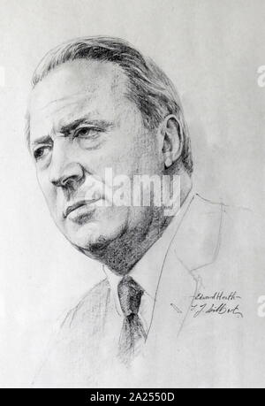 Pencil Portrait of Sir Edward Heath,  (1916 - 2005),known as Ted Heath, was a British politician who served as Prime Minister of the United Kingdom from 1970 to 1974 and Leader of the Conservative Party from 1965 to 1975. By J J Hilbert. - Stock Photo