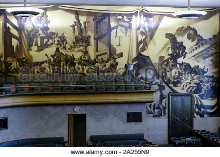 Murals, Council Chamber, Palais des Nations, Geneva (Switzerland). On the ceiling & walls. Painted in 1936, by the Catalan artist José María Sert, were a gift from the Government of Spain. They depict human progress through health, technology, freedom & peace. This was the home of the League of Nations, and is the present meeting place of the Conference on Disarmament. - Stock Photo