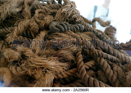 Rope used on the Khufu ship, (Solar Ship), from Ancient Egypt, was sealed into a pit in the Giza pyramid complex, at the foot of the Great Pyramid of Giza, around 2500 BC. The ship now is preserved in the Giza Solar boat museum. The ship was almost certainly built for Khufu (King Cheops), the second pharaoh of the Fourth Dynasty of the Old Kingdom of Egypt. - Stock Photo