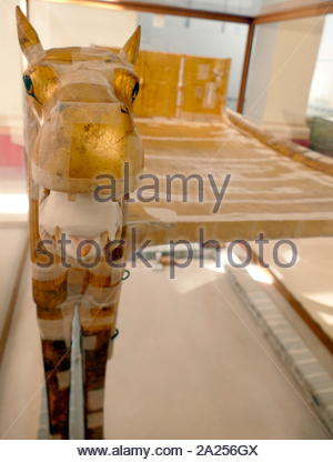 Guardian creature embellishing the Gilded bed of King Tutankhamen.  sculpted in the shape of Ammut, a fearsome composite creature made from a hippopotamus, lion and crocodile. 1323 BC - Stock Photo