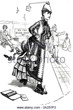 Cartoon commenting on the growing popularity of roller-skates in Great Britain. Dated 19th century - Stock Photo