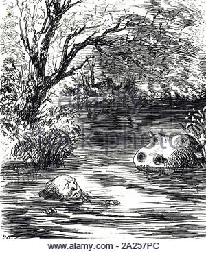 Cartoon commenting on the arrival of the new hippopotamus at Zoological Society in Regent's Park, London. Dated 19th century - Stock Photo