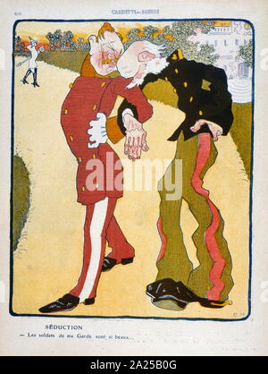 Illustration in a French magazine depicting a satirical view of the German Kaiser Wilhelm II with the Austrian Emperor, Franz Joseph I in 1909 - Stock Photo