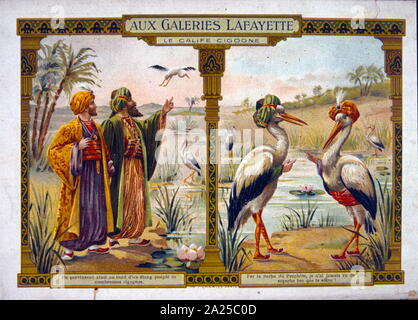 Illustration (circa 1900), for the story of the caliph Chasid, by Wilhelm Hauff (1802 – 1827)german poet and novelist. - Stock Photo