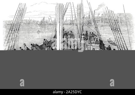 Engraving depicting emigrants on board the Artemisia at London bound for Moreton Bay, New South Wales, Australia. Through Her Majesty's Colonial Land and Emigration Commissioners, the government gave free passages to certain categories of workers whose skills were needed in Australia. These included farm and domestic workers, blacksmiths, wheelwrights and carpenters. Dated 19th century - Stock Photo