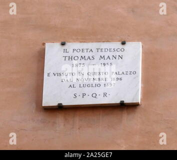 Plaque commemorating Thomas Mann (1875-1955) a German novelist, short story writer, social critic, philanthropist, essayist, and the 1929 Nobel Prize in Literature laureate. - Stock Photo