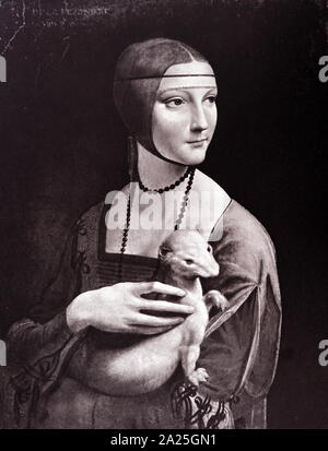Portrait of a Lady with an Ermine by Leonardo da Vinci. Leonardo di ser Piero da Vinci (1452-1519) an Italian polymath of the Renaissance. - Stock Photo