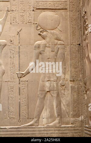 Temple of Kom Ombo, Upper Egypt. Constructed during the Ptolemaic dynasty, 180–47 BC. Some additions to it were later made during the Roman period. The building is unique because its 'double' design meant that there were courts, halls, sanctuaries and rooms duplicated for two sets of gods. The southern half of the temple was dedicated to the crocodile god Sobek. the northern part of the temple was dedicated to the falcon god Haroeris ('Horus the Elder'), along 'with Tasenetnofret, a special form of Hathor - Stock Photo