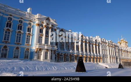 Exterior of Catherine Palace, a Rococo palace located in the town of Tsarskoye Selo. - Stock Photo
