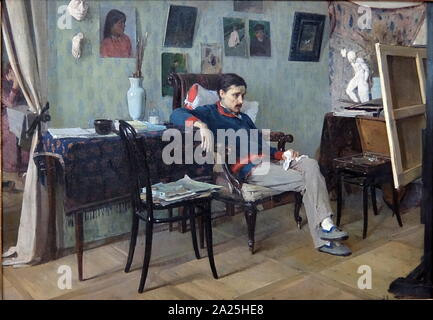 A painting titled 'A Sick Artist' by Aleksey Korin. Aleksey Mikhailovich Korin (1865-1923) a Russian genre painter. - Stock Photo