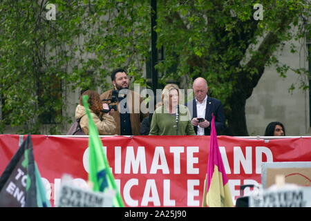 Large crowds filled Parliament Square calling for a climate emergency to be declared. It was the culmination of weeks of demonstrations and protests which have shut down streets in inner London and other cities, causing massive traffic disruption. The protest was called by YouthStrike4Climate, Momentum, Extinction Rebellion and 14 other groups may 2nd 2019 - Stock Photo