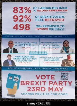Brexit Party leaflet for the European Parliamentary Elections 2019. The Brexit Party is a Eurosceptic political party in the United Kingdom that was formed in 2019 - Stock Photo