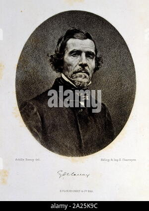 Portrait engraving of Eugène Delacroix (1798 – 1863); French Romantic artist regarded from the outset of his career as the leader of the French Romantic school. Stock Photo