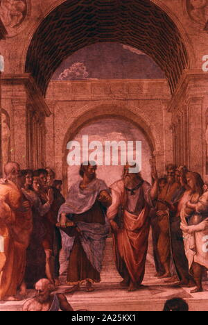 Detail showing Plato or Leonardo da Vinci, (left) and Aristotle or Michelangelo (Right), from 'The School of Athens' by Raphael - Stock Photo