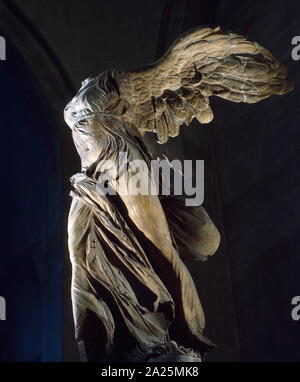 The Winged Victory of Samothrace, also called the Nike of Samothrace, is a marble Hellenistic sculpture of Nike (the Greek goddess of victory), that was created about the 2nd century BC. - Stock Photo