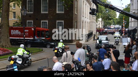 Theresa May arrives in Downing Street, London fro the last day of her Premiership. Theresa May, Prime Minister of the United Kingdom, 13 July 2016 - 24 July 2019. May was Leader of the Conservative Party from July 2016 - 23 July 2019 - Stock Photo