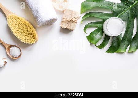 SPA set for cellulite massage, natural organic cosmetics, cotton. Zero waste for body care. Space for text. - Stock Photo