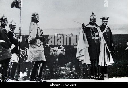 Sir Winston Churchill (1874 - 1965), British politician with Kaiser Wilhelm II 1908. Churchill was Prime Minister of the United Kingdom from 1940 to 1945, when he led Britain to victory in the Second World War, and again from 1951 to 1955 - Stock Photo