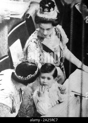 Prince Charles with Princess Margaret and Elizabeth the Queen mother attend the coronation of Queen Elizabeth II 1953 - Stock Photo