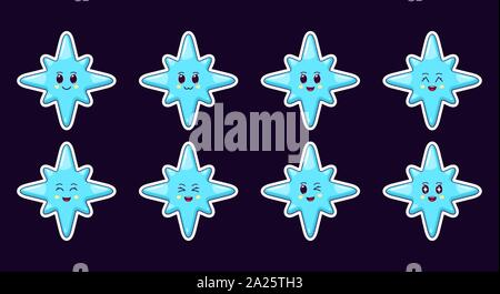 Cartoon Kawaii Blue Star, Christmas Sticker set. New Year and Xmas collection of Cute Star with 8 rays, different emotions. Festive Character with exp - Stock Photo