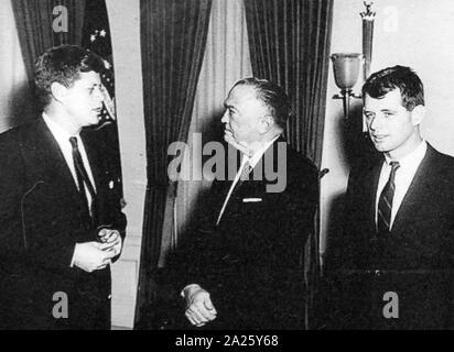 A photograph of John F. Kennedy (1917-1963), J. Edgar Hoover (1895-1972) and Robert Kennedy (1925-1968).