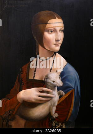 Lady with an Ermine, a painting by Italian artist Leonardo da Vinci, circa 1489-1490. The portrait's subject is Cecilia Gallerani, painted at a time when she was the mistress of Ludovico Sforza, Duke of Milan, and Leonardo was in the Duke's service. - Stock Photo