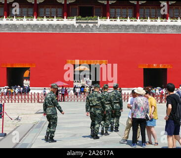 Soldier of the Chinese Army in Beijing, 2019. With 2.3 million active troops, the People's Liberation Army (PLA) is the largest standing military force in the world - Stock Photo